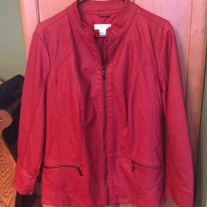 Red lined faux leather jacket - not worn